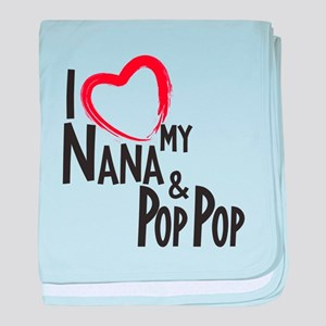 I heart my Nana and Pop Pop baby blanket